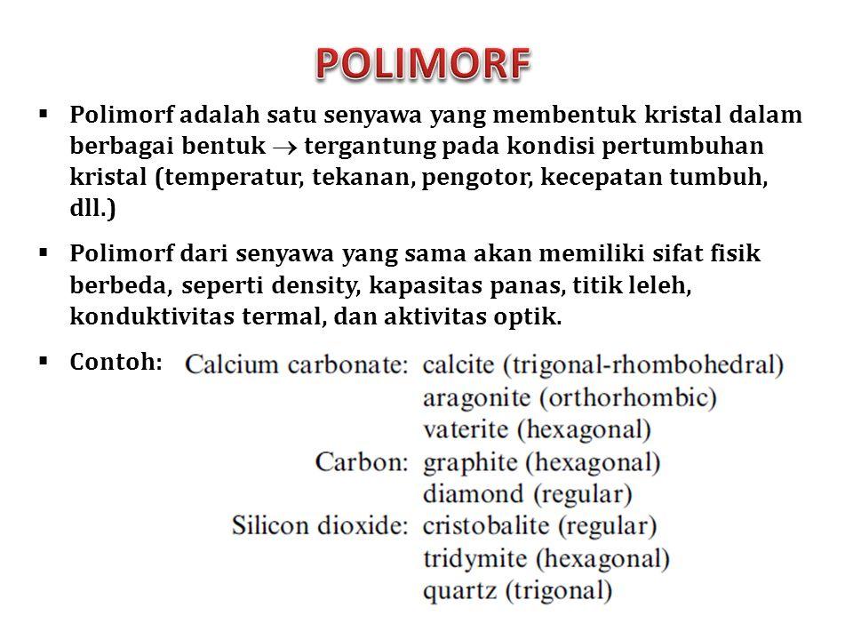  Polimorf adalah satu senyawa yang membentuk kristal dalam berbagai bentuk  tergantung pada kondisi pertumbuhan kristal (temperatur, tekanan, pengot