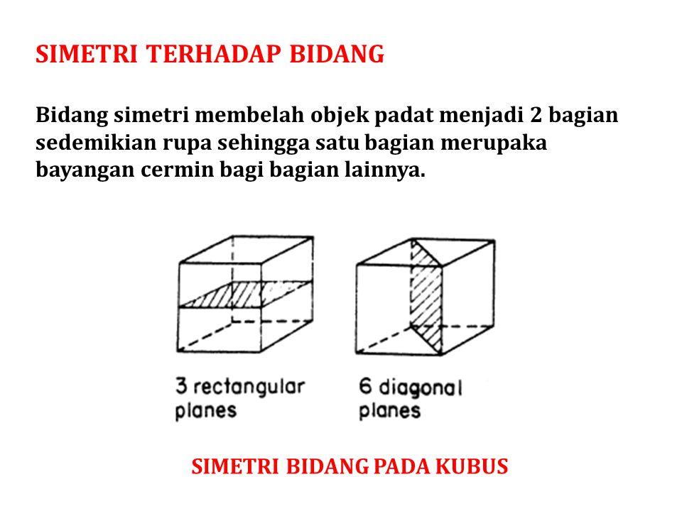 SIMETRI TERHADAP BIDANG Bidang simetri membelah objek padat menjadi 2 bagian sedemikian rupa sehingga satu bagian merupaka bayangan cermin bagi bagian