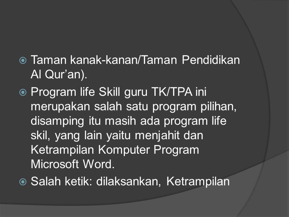  Taman kanak-kanan/Taman Pendidikan Al Qur'an).  Program life Skill guru TK/TPA ini merupakan salah satu program pilihan, disamping itu masih ada pr