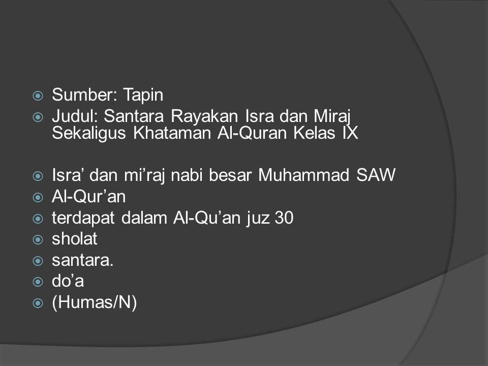  Sumber: Tapin  Judul: Santara Rayakan Isra dan Miraj Sekaligus Khataman Al-Quran Kelas IX  Isra' dan mi'raj nabi besar Muhammad SAW  Al-Qur'an  terdapat dalam Al-Qu'an juz 30  sholat  santara.