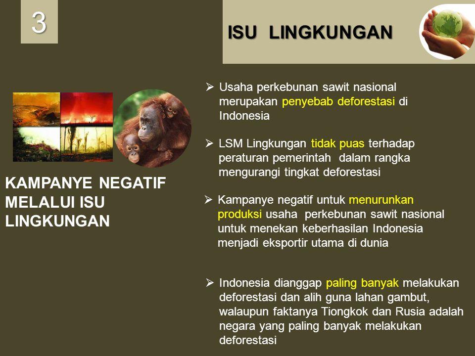 ISU LINGKUNGAN KAMPANYE NEGATIF MELALUI ISU LINGKUNGAN 3333  Usaha perkebunan sawit nasional merupakan penyebab deforestasi di Indonesia  LSM Lingku