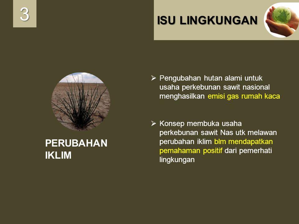 ISU LINGKUNGAN PERUBAHAN IKLIM 3333  Pengubahan hutan alami untuk usaha perkebunan sawit nasional menghasilkan emisi gas rumah kaca  Konsep membuka