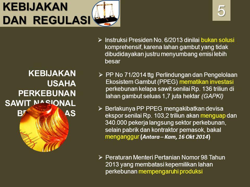 KEBIJAKAN DAN REGULASI KEBIJAKAN USAHA PERKEBUNAN SAWIT NASIONAL BELUM JELAS 5555  Instruksi Presiden No. 6/2013 dinilai bukan solusi komprehensif, k
