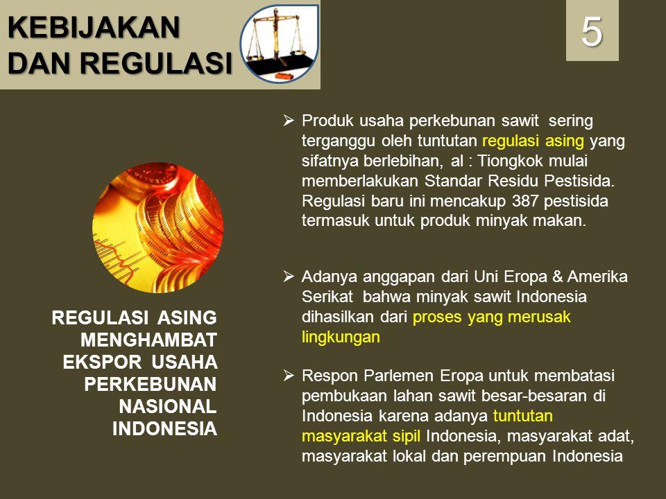 KEBIJAKAN DAN REGULASI REGULASI ASING MENGHAMBAT EKSPOR USAHA PERKEBUNAN NASIONAL INDONESIA 5555  Produk usaha perkebunan sawit sering terganggu oleh
