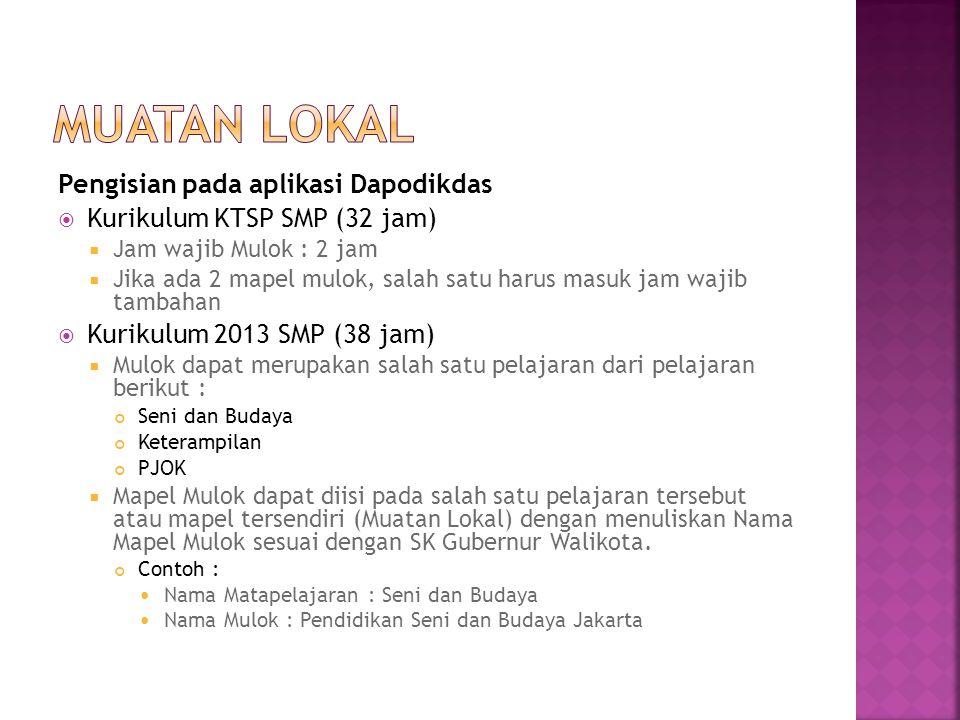 Pengisian pada aplikasi Dapodikdas  Kurikulum KTSP SMP (32 jam)  Jam wajib Mulok : 2 jam  Jika ada 2 mapel mulok, salah satu harus masuk jam wajib