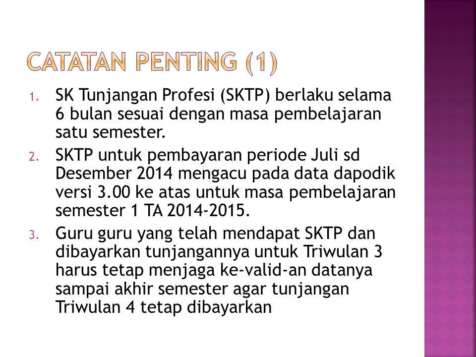 1. SK Tunjangan Profesi (SKTP) berlaku selama 6 bulan sesuai dengan masa pembelajaran satu semester. 2. SKTP untuk pembayaran periode Juli sd Desember