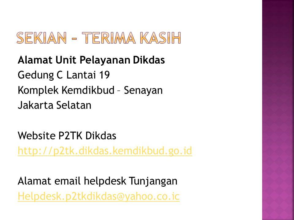 Alamat Unit Pelayanan Dikdas Gedung C Lantai 19 Komplek Kemdikbud – Senayan Jakarta Selatan Website P2TK Dikdas http://p2tk.dikdas.kemdikbud.go.id Ala