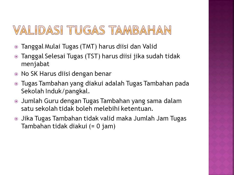  Tanggal Mulai Tugas (TMT) harus diisi dan Valid  Tanggal Selesai Tugas (TST) harus diisi jika sudah tidak menjabat  No SK Harus diisi dengan benar