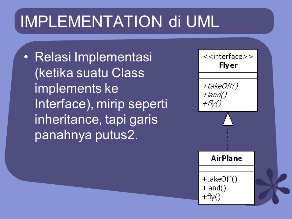 IMPLEMENTATION di UML Relasi Implementasi (ketika suatu Class implements ke Interface), mirip seperti inheritance, tapi garis panahnya putus2.