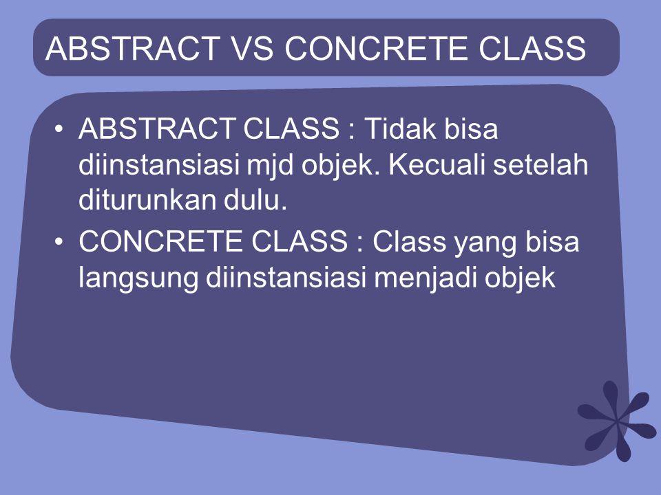 KAPAN DIGUNAKAN ABSTRACT CLASS.