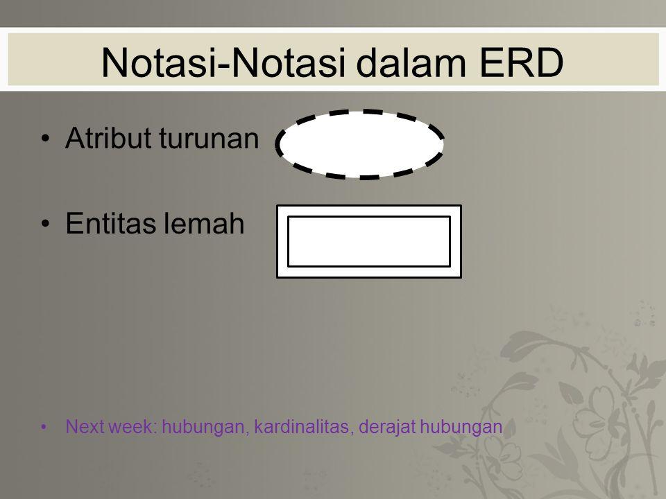 Atribut turunan Entitas lemah Next week: hubungan, kardinalitas, derajat hubungan Notasi-Notasi dalam ERD