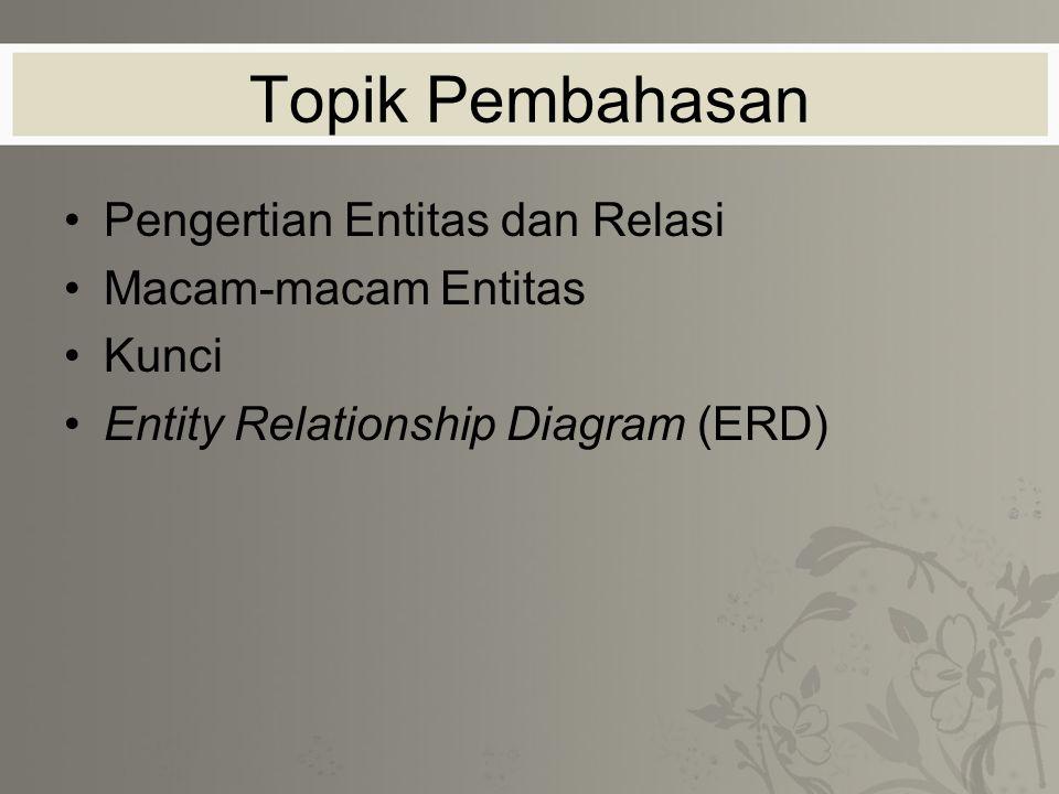 Topik Pembahasan Pengertian Entitas dan Relasi Macam-macam Entitas Kunci Entity Relationship Diagram (ERD)
