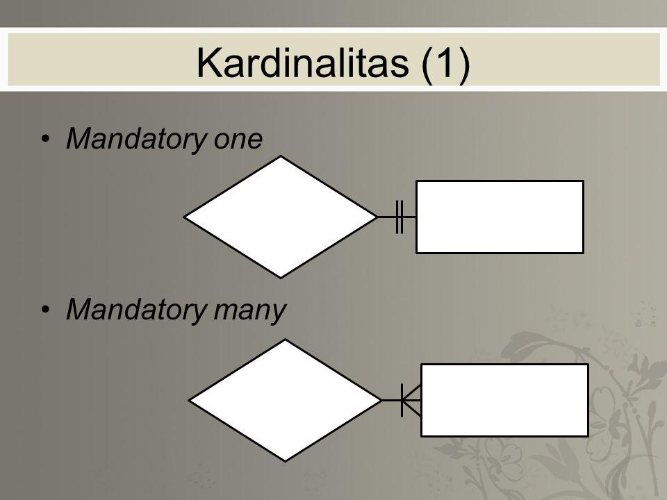 Kardinalitas (1) Mandatory one Mandatory many