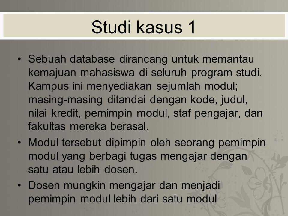 Studi kasus 1 Sebuah database dirancang untuk memantau kemajuan mahasiswa di seluruh program studi.