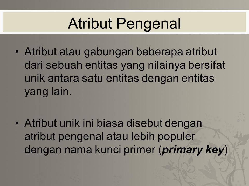 Atribut Pengenal Atribut atau gabungan beberapa atribut dari sebuah entitas yang nilainya bersifat unik antara satu entitas dengan entitas yang lain.