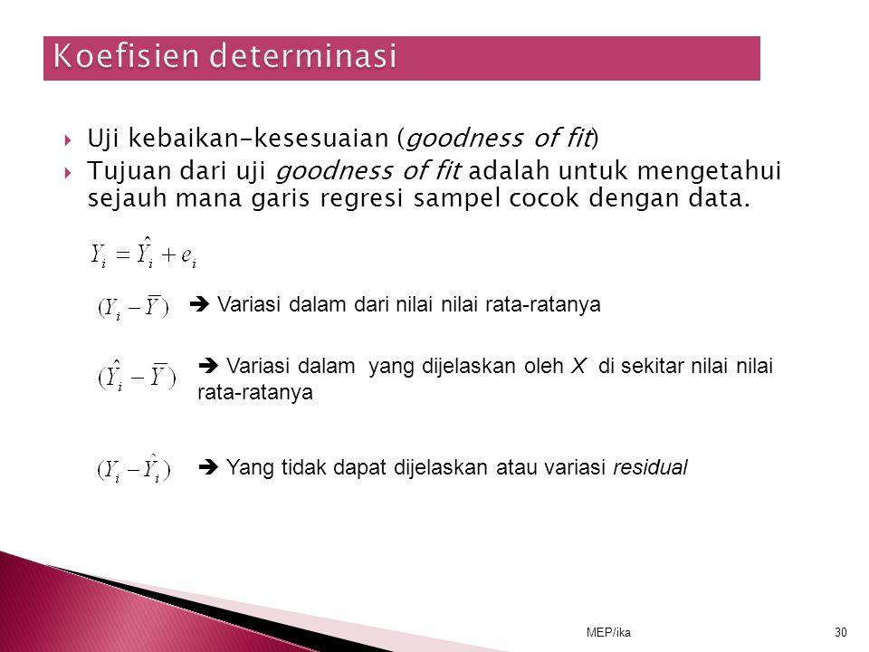 MEP/ika30  Uji kebaikan-kesesuaian (goodness of fit)  Tujuan dari uji goodness of fit adalah untuk mengetahui sejauh mana garis regresi sampel cocok dengan data.