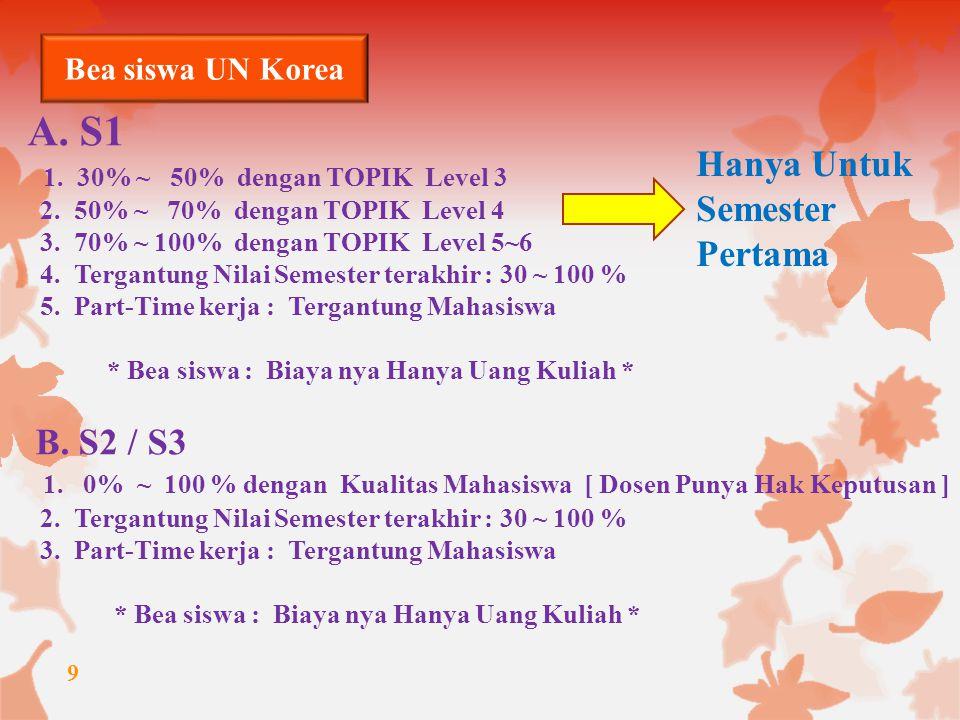 9 Bea siswa UN Korea A.S1 1. 30% ~ 50% dengan TOPIK Level 3 2.