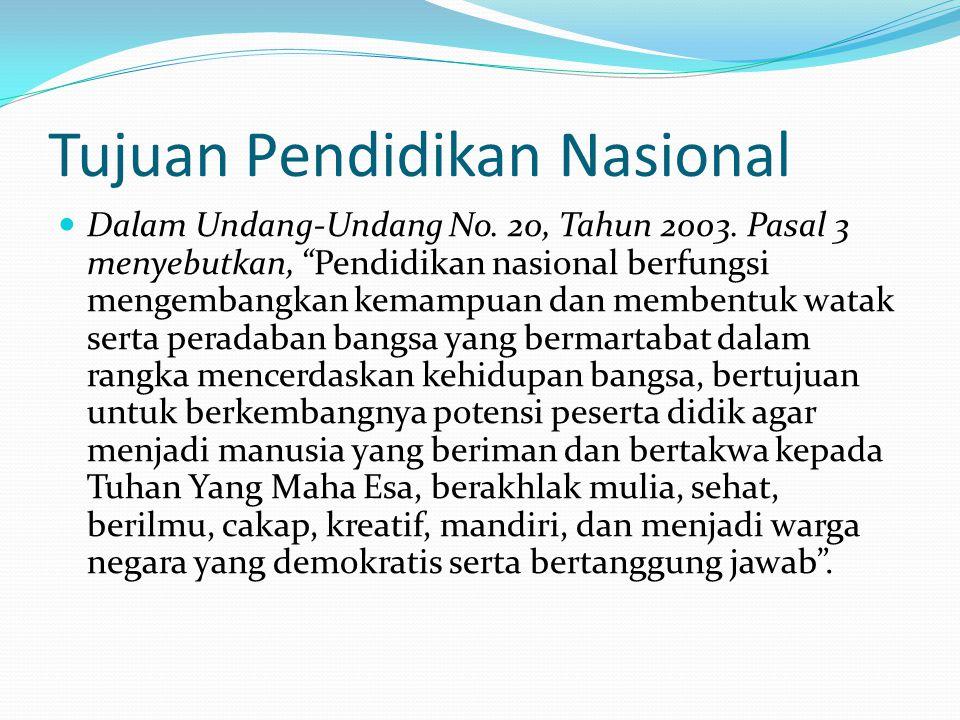 """Tujuan Pendidikan Nasional Dalam Undang-Undang No. 20, Tahun 2003. Pasal 3 menyebutkan, """"Pendidikan nasional berfungsi mengembangkan kemampuan dan mem"""