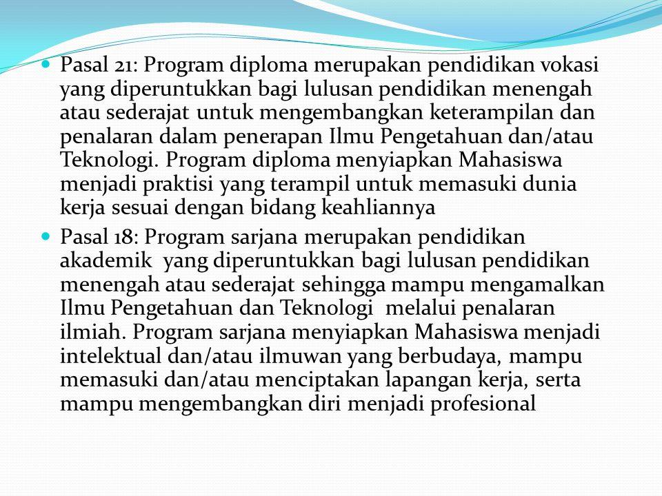 Pasal 21: Program diploma merupakan pendidikan vokasi yang diperuntukkan bagi lulusan pendidikan menengah atau sederajat untuk mengembangkan keterampi