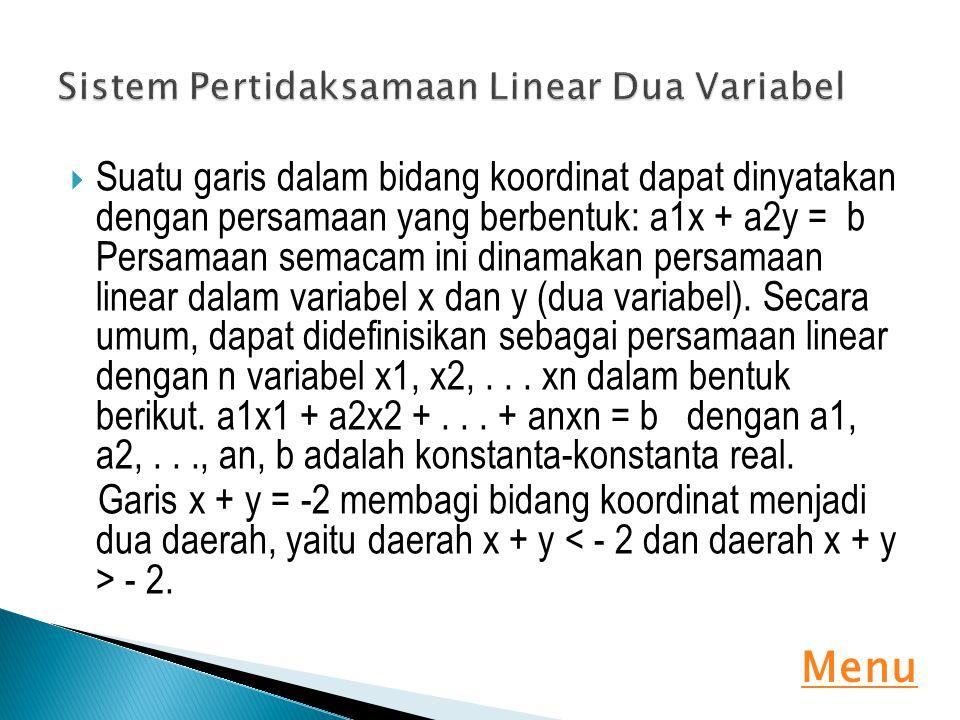  Suatu garis dalam bidang koordinat dapat dinyatakan dengan persamaan yang berbentuk: a1x + a2y = b Persamaan semacam ini dinamakan persamaan linear
