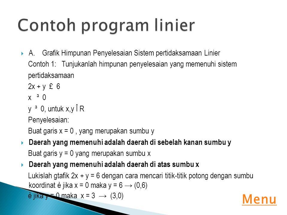  A. Grafik Himpunan Penyelesaian Sistem pertidaksamaan Linier Contoh 1: Tunjukanlah himpunan penyelesaian yang memenuhi sistem pertidaksamaan 2x + y