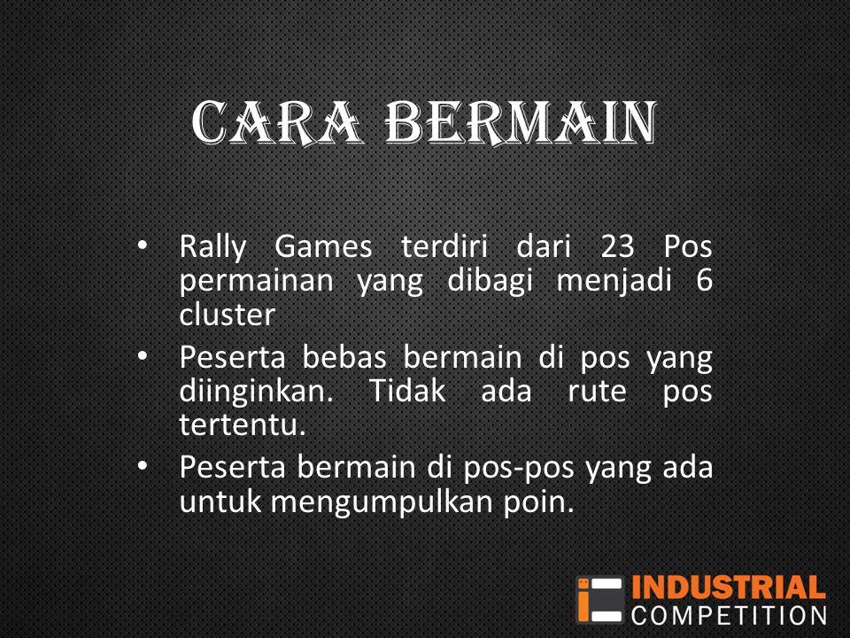 CARA BERMAIN Rally Games terdiri dari 23 Pos permainan yang dibagi menjadi 6 cluster Peserta bebas bermain di pos yang diinginkan.