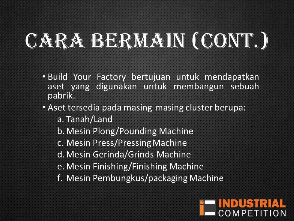 CARA BERMAIN (CONT.) Build Your Factory bertujuan untuk mendapatkan aset yang digunakan untuk membangun sebuah pabrik.