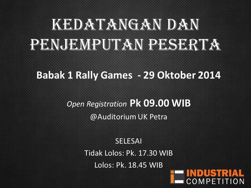 Kedatangan dan penjemputan peserta Babak 1 Rally Games - 29 Oktober 2014 Open Registration Pk 09.00 WIB @Auditorium UK Petra SELESAI Tidak Lolos: Pk.