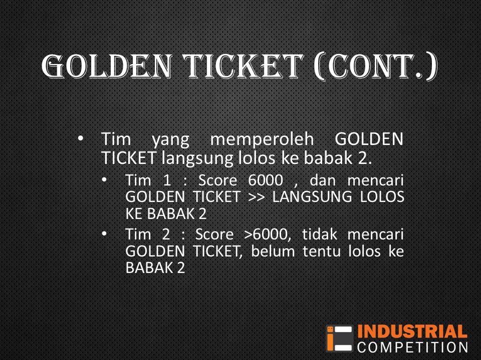 GOLDEN TICKET (CONT.) Tim yang memperoleh GOLDEN TICKET langsung lolos ke babak 2.
