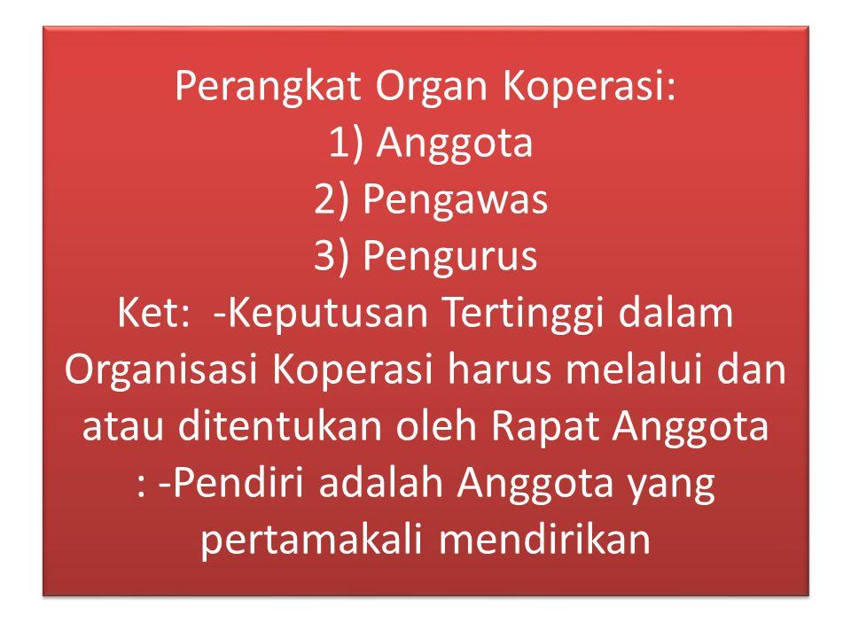 Perangkat Organ Koperasi: 1) Anggota 2) Pengawas 3) Pengurus Ket: -Keputusan Tertinggi dalam Organisasi Koperasi harus melalui dan atau ditentukan ole