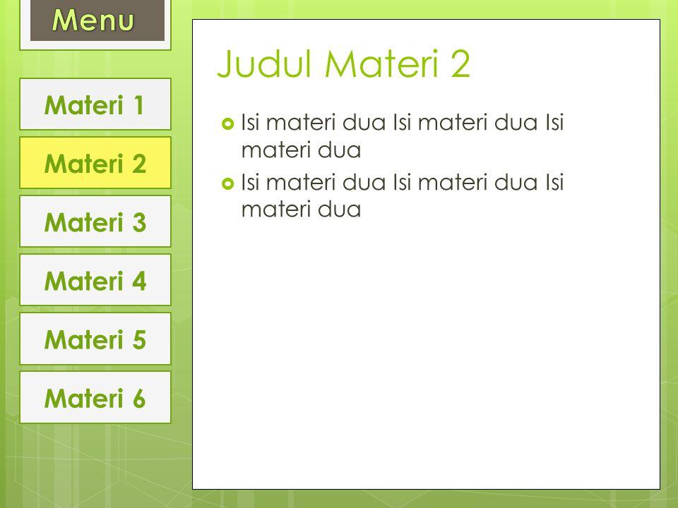 Judul Materi 2  Isi materi dua Isi materi dua Isi materi dua Materi 1 Materi 2 Materi 3 Materi 4 Materi 5 Materi 6