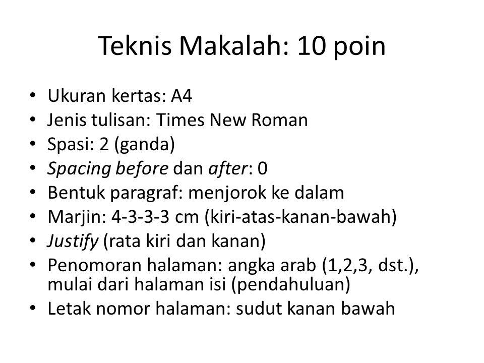 Teknis Makalah: 10 poin Ukuran kertas: A4 Jenis tulisan: Times New Roman Spasi: 2 (ganda) Spacing before dan after: 0 Bentuk paragraf: menjorok ke dal