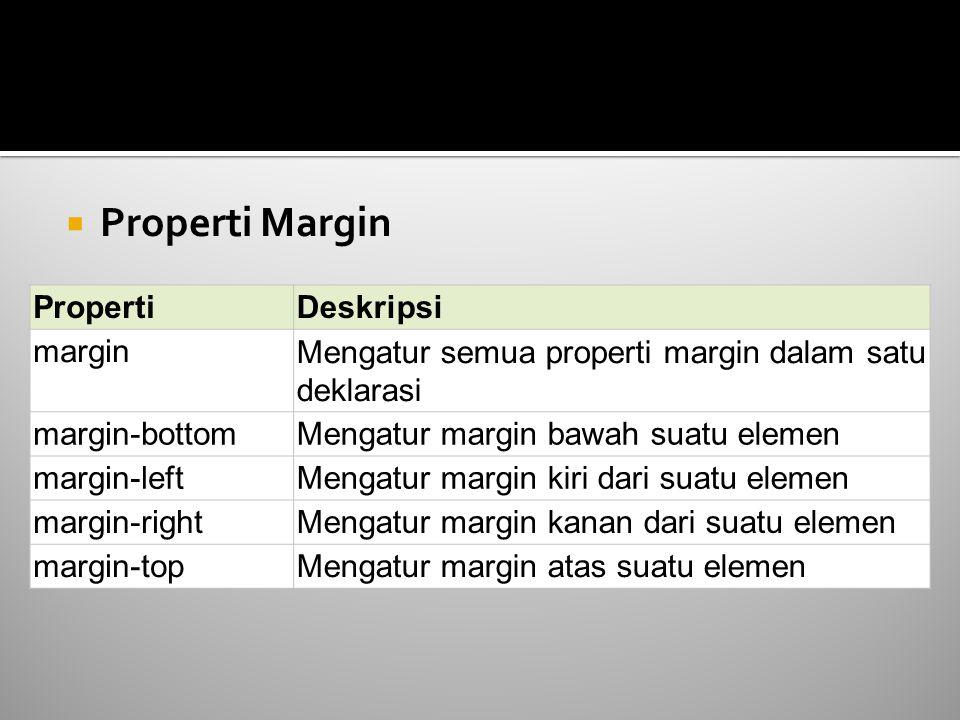  Properti Margin PropertiDeskripsi marginMengatur semua properti margin dalam satu deklarasi margin-bottomMengatur margin bawah suatu elemen margin-l