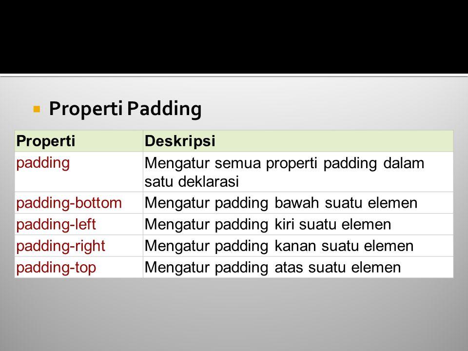  Properti Padding PropertiDeskripsi paddingMengatur semua properti padding dalam satu deklarasi padding-bottomMengatur padding bawah suatu elemen pad