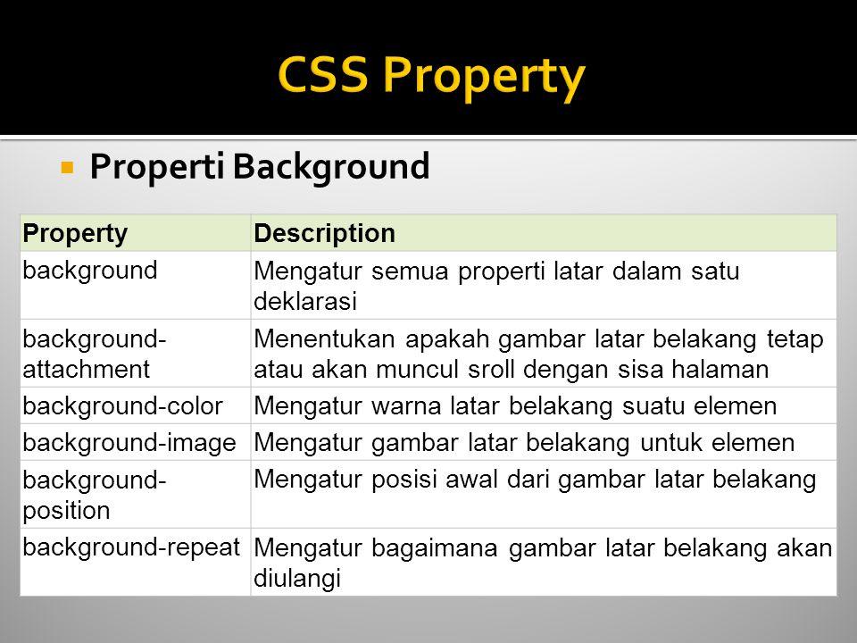  Properti Background PropertyDescription backgroundMengatur semua properti latar dalam satu deklarasi background- attachment Menentukan apakah gambar