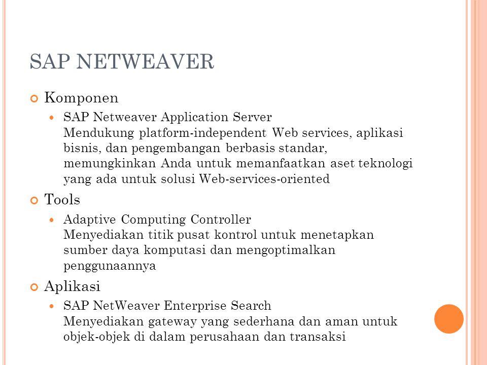 SAP NETWEAVER Komponen SAP Netweaver Application Server Mendukung platform-independent Web services, aplikasi bisnis, dan pengembangan berbasis standa