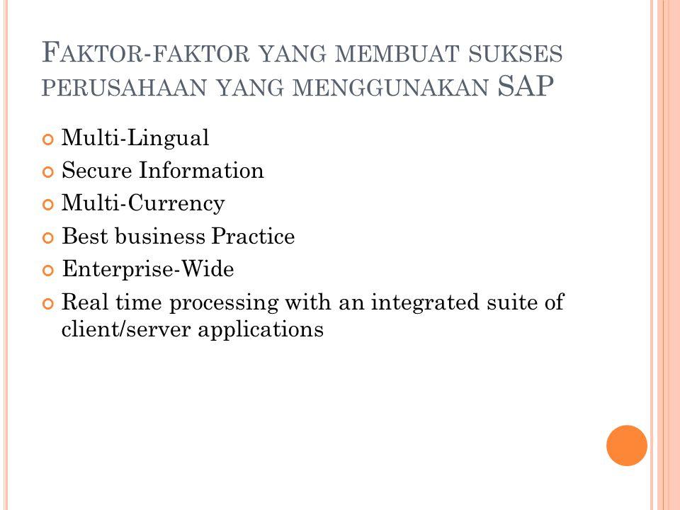F AKTOR - FAKTOR YANG MEMBUAT SUKSES PERUSAHAAN YANG MENGGUNAKAN SAP Multi-Lingual Secure Information Multi-Currency Best business Practice Enterprise