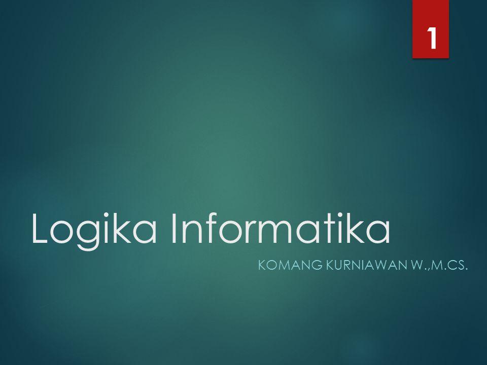  Mata Kuliah : Logika Informatika  Kode / SKS : MKK-058 / 3  Waktu (Durasi) : 09.00 – 11.15 (2 jam 15 menit)  Metode Pembelajaran : o Sharing o Presentasi Kelompok (jika dibutuhkan) o Latihan Intro