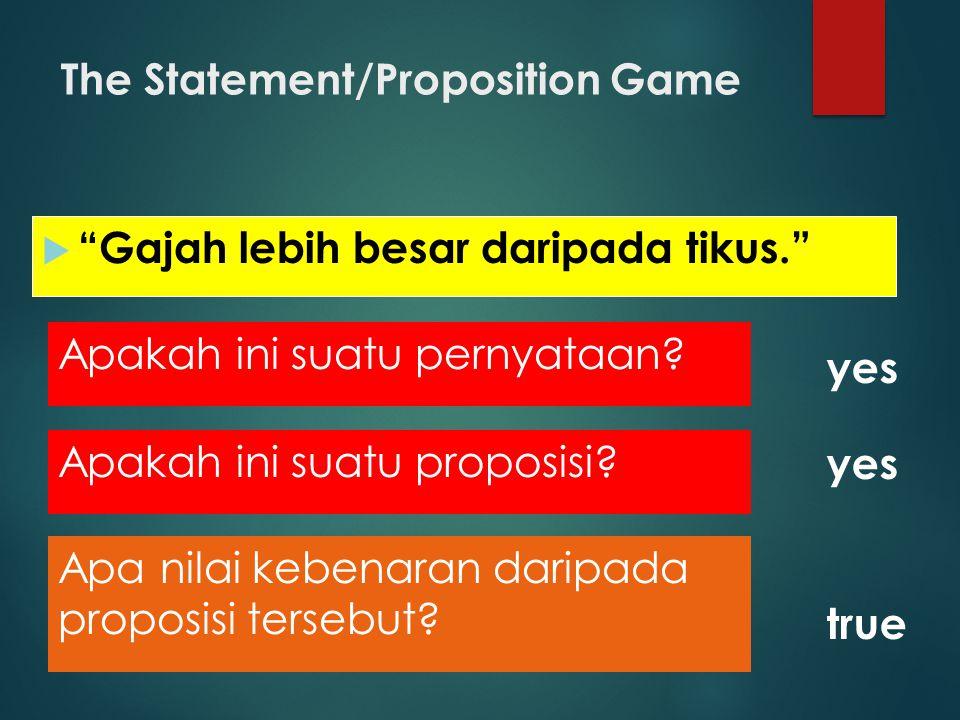 """The Statement/Proposition Game  """"Gajah lebih besar daripada tikus."""" yes Apa nilai kebenaran daripada proposisi tersebut? true Apakah ini suatu propos"""
