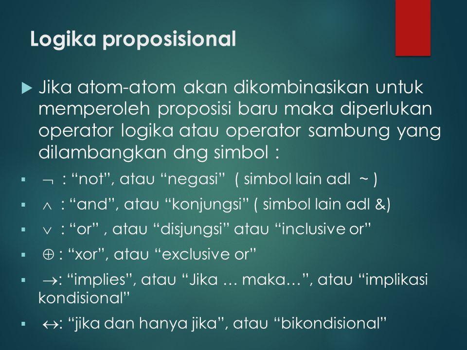 Logika proposisional  Jika atom-atom akan dikombinasikan untuk memperoleh proposisi baru maka diperlukan operator logika atau operator sambung yang d