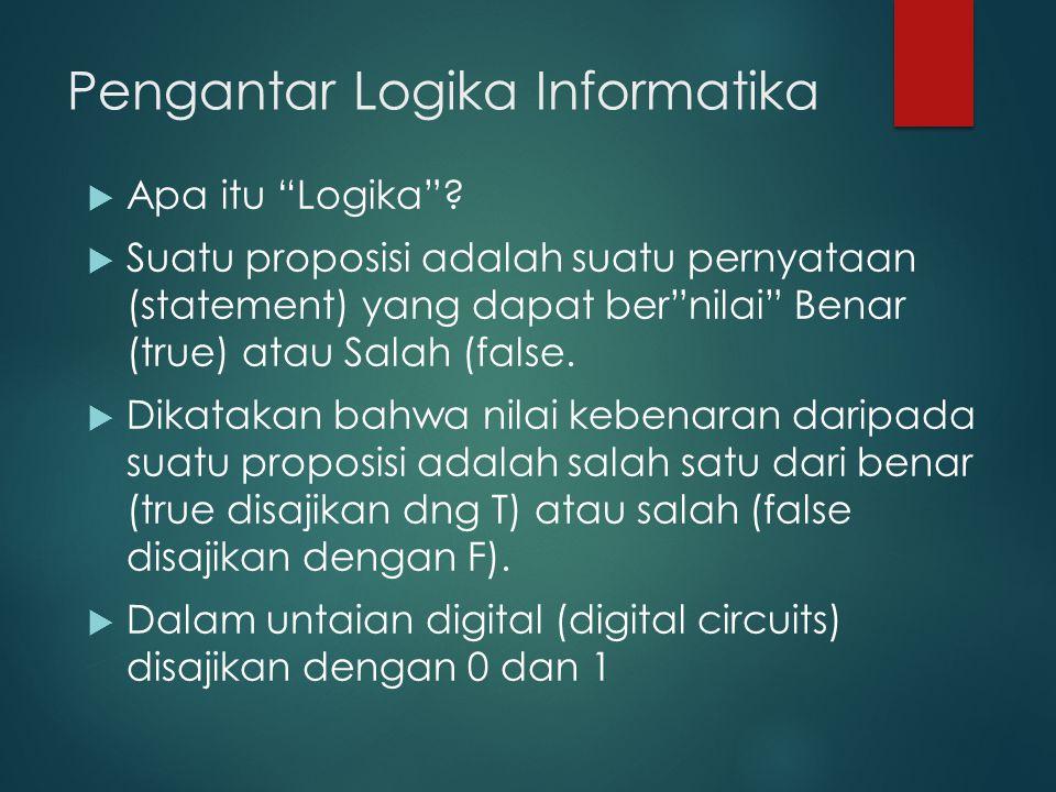 """Pengantar Logika Informatika  Apa itu """"Logika""""?  Suatu proposisi adalah suatu pernyataan (statement) yang dapat ber""""nilai"""" Benar (true) atau Salah ("""