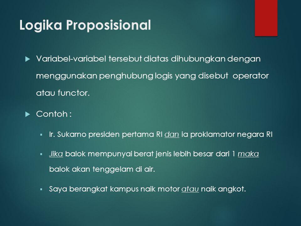 Logika proposisional  Perhatikan kalimat-kalimat sebagai berikut :  1) Tutuplah pintu itu  2) Dilarang merokok  3) Nilai daripada x terletak diantara nol dan satu.