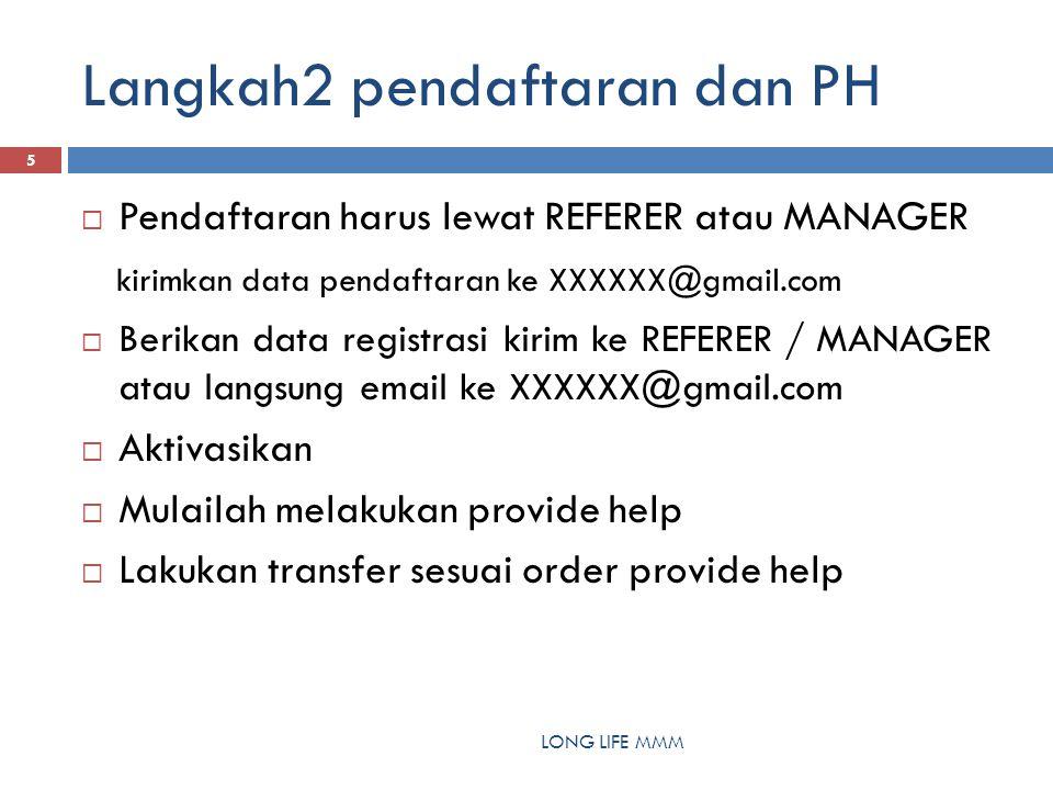 Langkah2 pendaftaran dan PH LONG LIFE MMM 5  Pendaftaran harus lewat REFERER atau MANAGER kirimkan data pendaftaran ke XXXXXX@gmail.com  Berikan data registrasi kirim ke REFERER / MANAGER atau langsung email ke XXXXXX@gmail.com  Aktivasikan  Mulailah melakukan provide help  Lakukan transfer sesuai order provide help