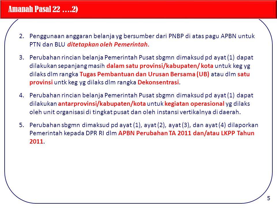 Amanah Pasal 22 ….2) 2.Penggunaan anggaran belanja yg bersumber dari PNBP di atas pagu APBN untuk PTN dan BLU ditetapkan oleh Pemerintah.