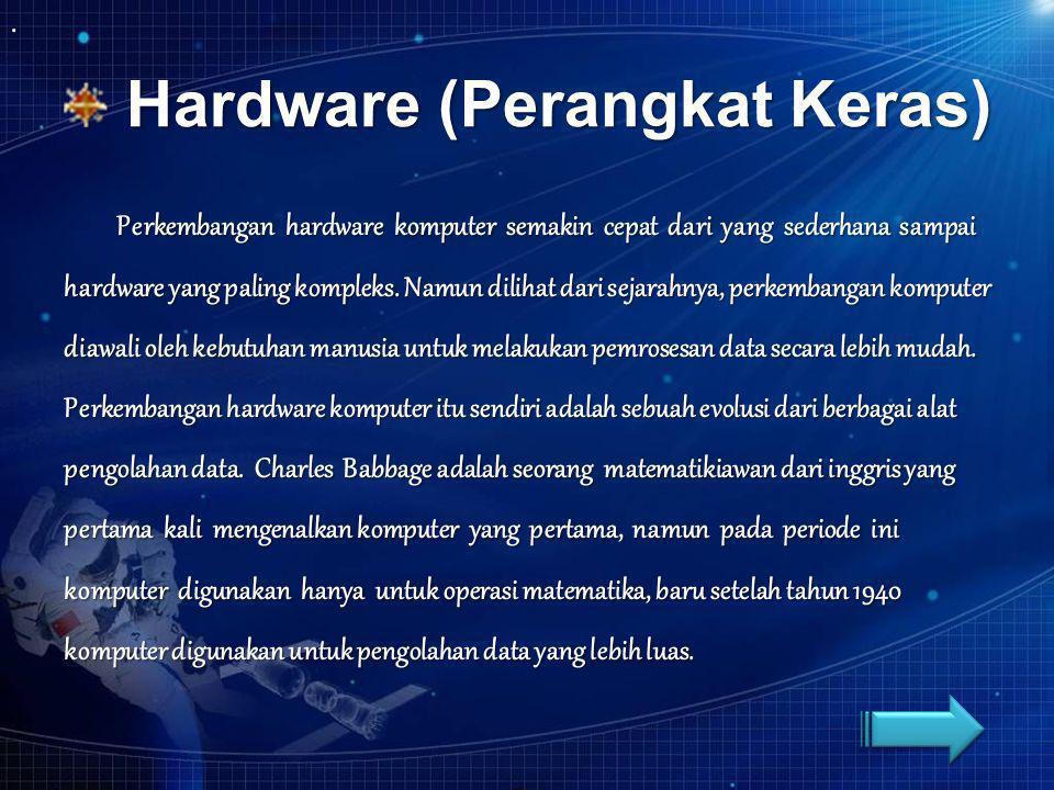 Hardware (Perangkat Keras) Hardware (Perangkat Keras) Perkembangan hardware komputer semakin cepat dari yang sederhana sampai hardware yang paling kom