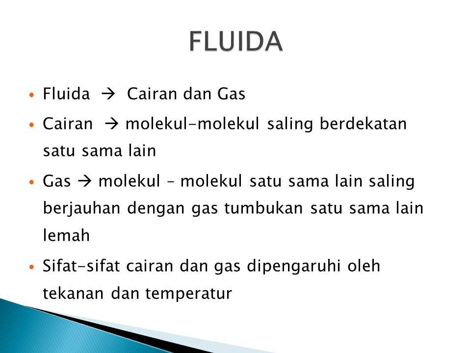 Densitas ( , rho) adalah massa suatu fluida untuk tiap satuan volume  Densitas suatu fluida dapat diukur dengan mengukur berat dan volume  Botol Piknometer dapat dipergunakan untuk pengukuran densitas cairan  Air raksa merupakan cairan yang memiliki densitas terbesar (  Hg (20 o C, 1 atm) = 13.580 kg/m 3 )  Hidrogen merupakan gas yang miliki densitas terkecil (  H2 (20 o C, 1 atm) = 0.0838 kg/m 3 )