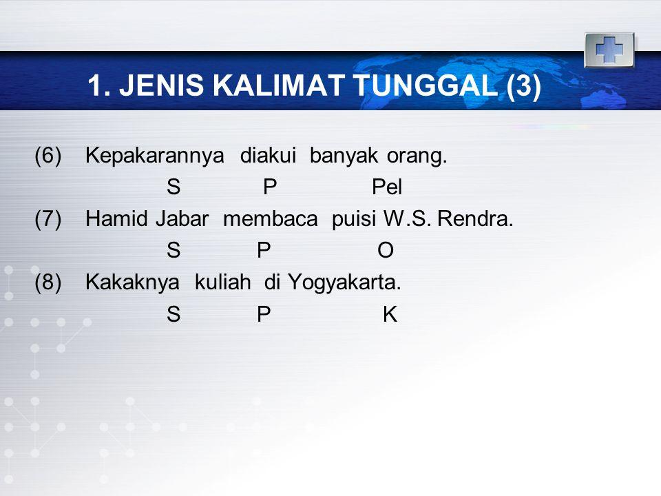 1. JENIS KALIMAT TUNGGAL (3) (6) Kepakarannya diakui banyak orang. S P Pel (7) Hamid Jabar membaca puisi W.S. Rendra. S P O (8) Kakaknya kuliah di Yog