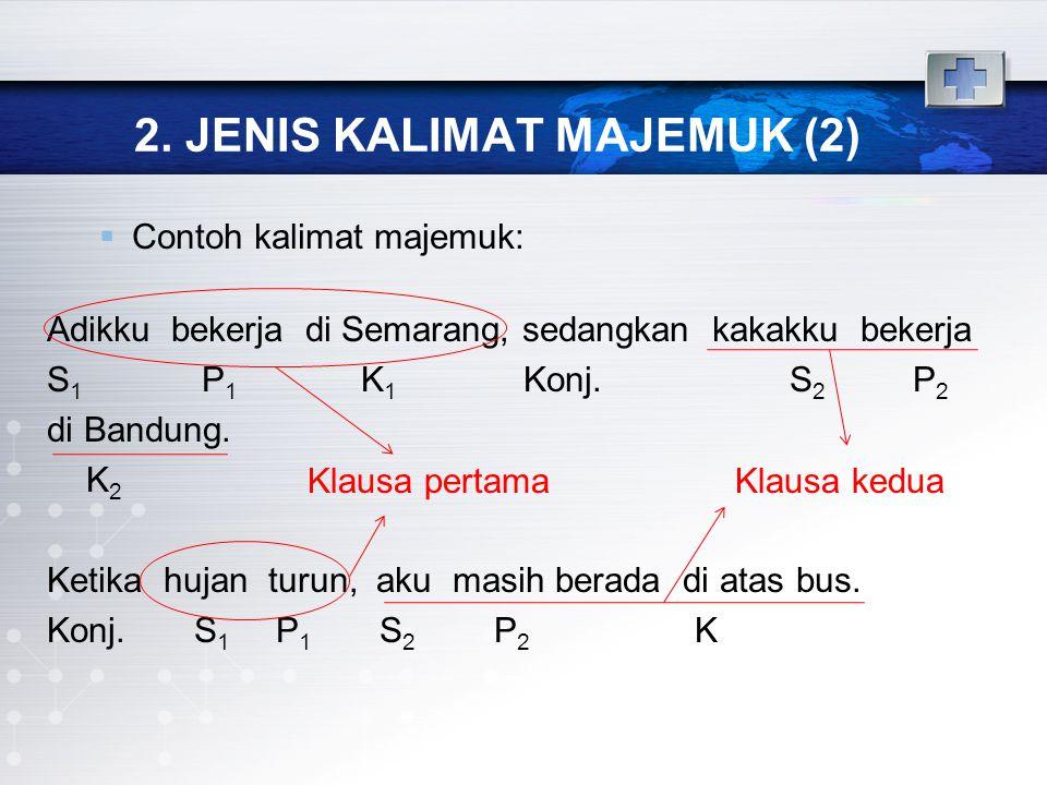 2. JENIS KALIMAT MAJEMUK (2)  Contoh kalimat majemuk: Adikku bekerja di Semarang, sedangkan kakakku bekerja S 1 P 1 K 1 Konj. S 2 P 2 di Bandung. K 2