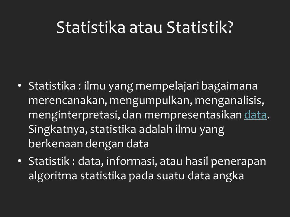 JENIS-JENIS STATISTIKA STATISTIKA Statistika Deskriptif Statistika Induktif Materi: 1.Penyajian data 2.Ukuran pemusatan 3.Ukuran penyebaran 4.Angka indeks 5.Deret berkala dan peramalan Materi: 1.Probabilitas dan teori keputusan 2.Metode sampling 3.Teori pendugaan 4.Pengujian hipotesa 5.Regresi dan korelasi 6.Statistika nonparametrik