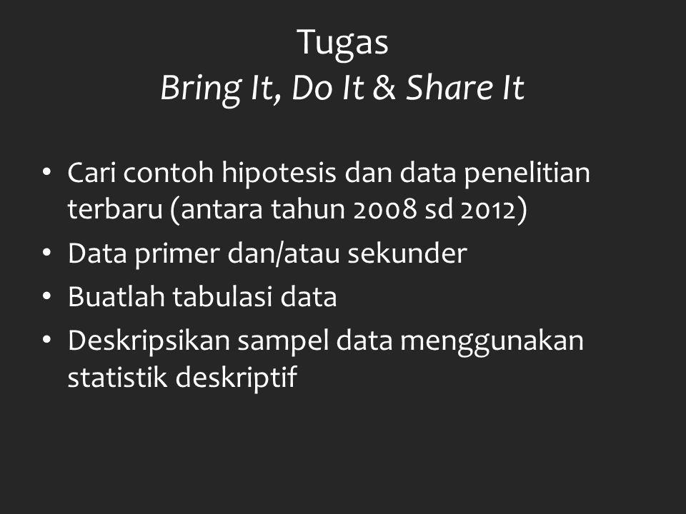 Tugas Bring It, Do It & Share It Cari contoh hipotesis dan data penelitian terbaru (antara tahun 2008 sd 2012) Data primer dan/atau sekunder Buatlah t